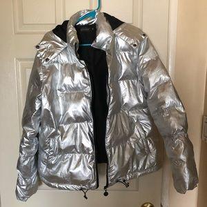 Jackets & Blazers - Metallic Silver Puff Jacket